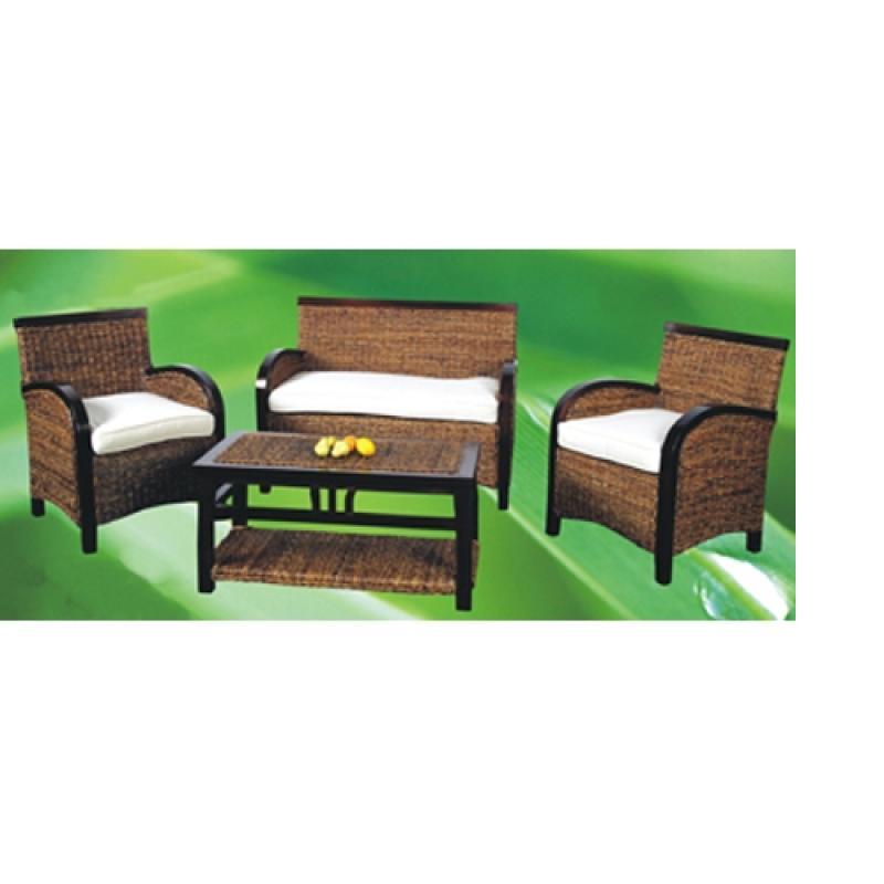 Conjunto terraza mesa sofa 2sillones ratan natural for Conjunto sofa terraza